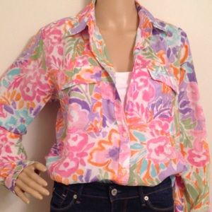RALPH LAUREN BLOUSE LARGE MULTI COLOR